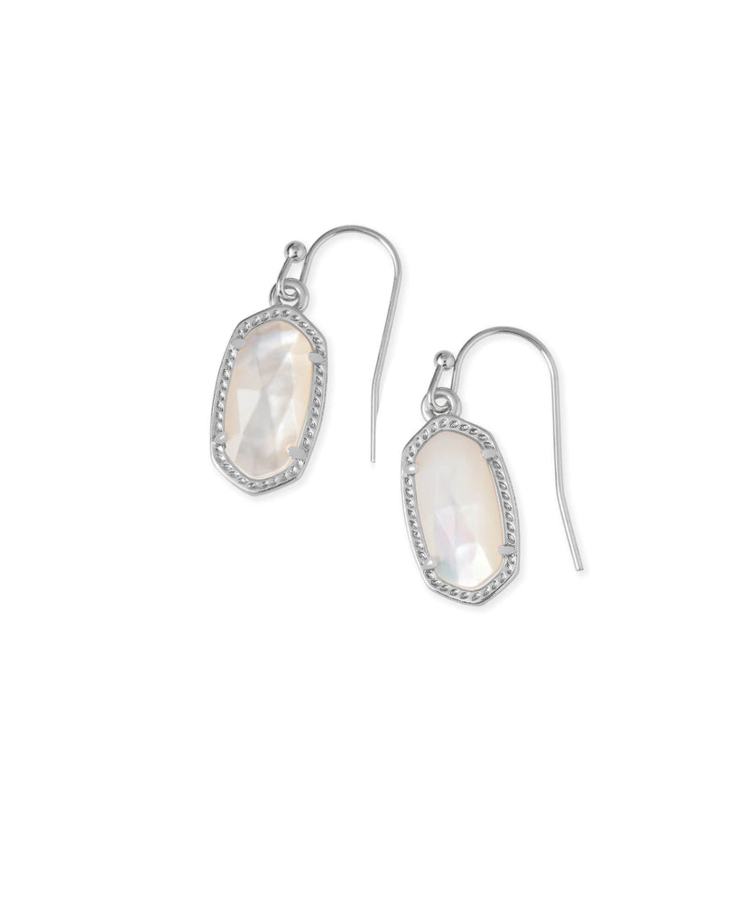 Kendra Scott Lee Silver Drop Earrings in Ivory Pearl