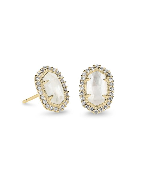 Kendra Scott Cade Gold Stud Earrings in Ivory Pearl -
