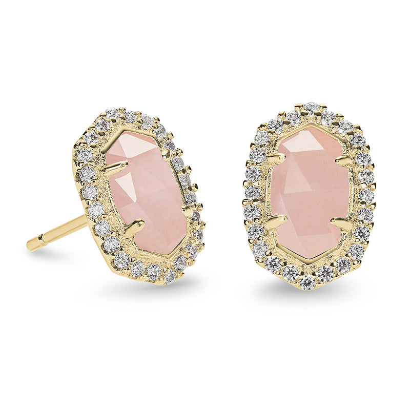 Kendra Scott Cade Gold Stud Earrings in Rose Quartz