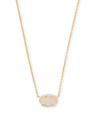Kendra Scott Chelsea Gold Pendant Necklace in Rose Quartz