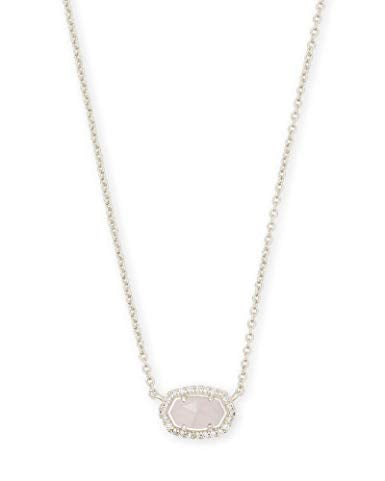 Kendra Scott Chelsea Silver Pendant Necklace in Rose Quartz