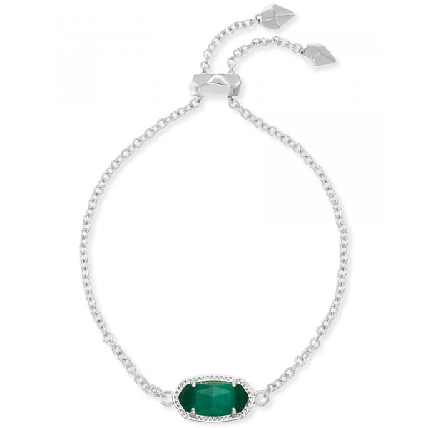 Kendra Scott Elaina Silver Adjustable Chain Bracelet in Emerald Cats Eye May