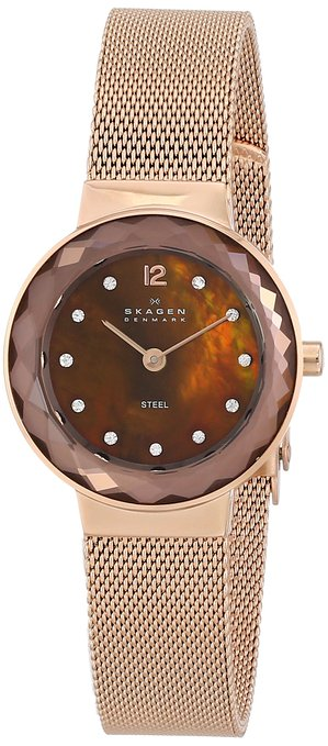 Skagen Leonora Rose Gold-Tone Mesh Ladies Watch