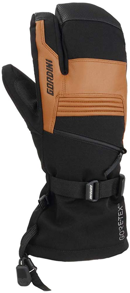 Gordini Mens Gore-tex Storm Trooper Three Finger Waterproof Mittens Gloves - Black/Tan - Large