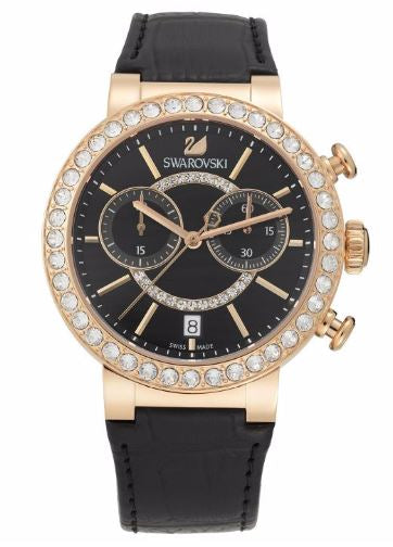 Swarovski Citra Sphere Chrono Black Rose Gold-Tone Ladies Watch