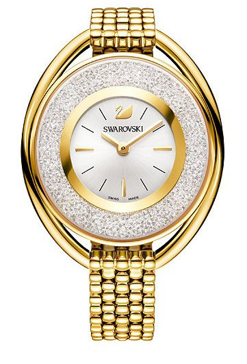 Swarovski Crystalline Oval Gold Tone Bracelet Ladies Watch
