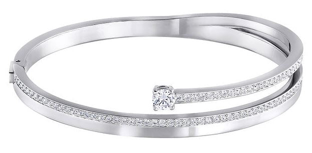 Swarovski Fresh Bangle - White - Rhodium Plating -