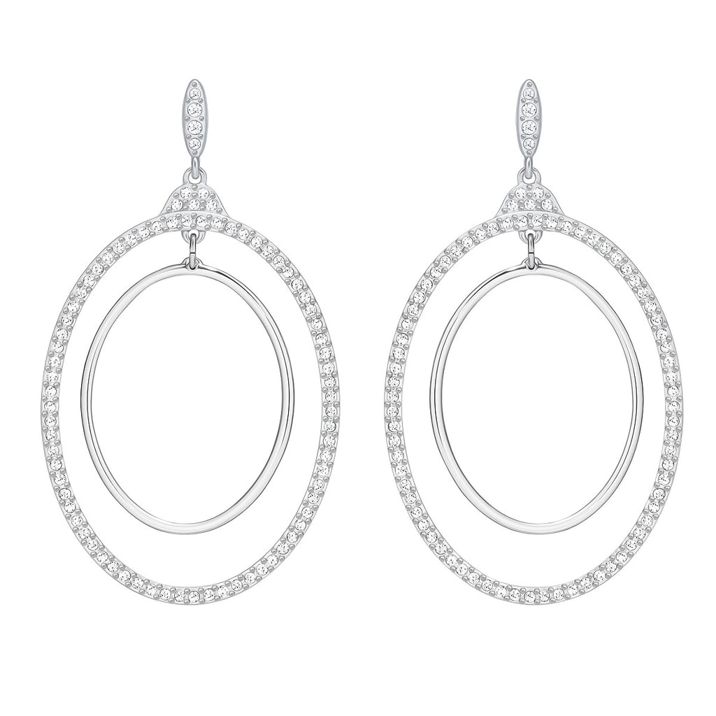 Swarovski Gilberte Hoop Pierced Earrings - White -