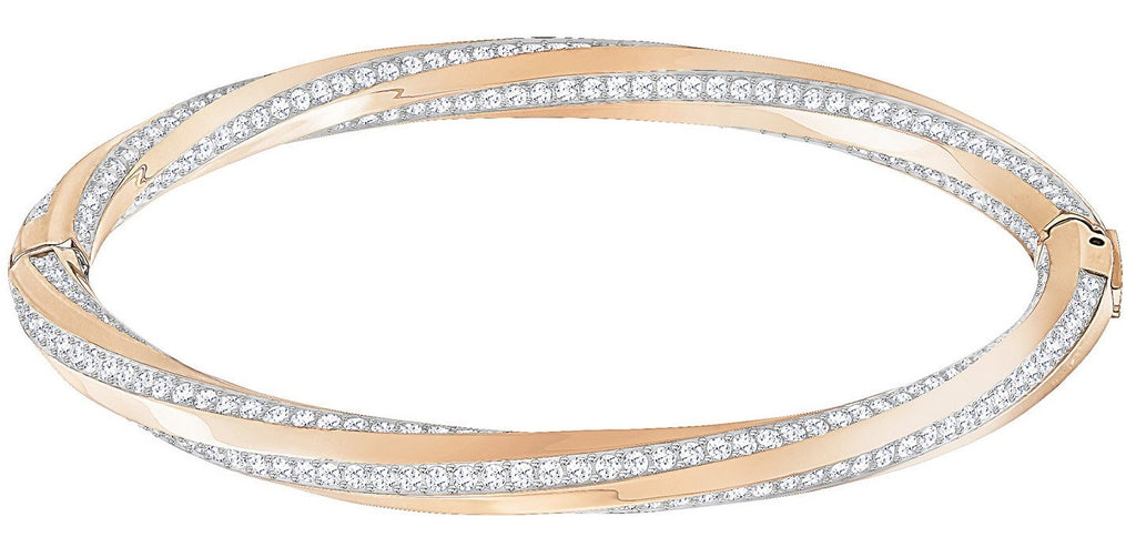 Swarovski Hilt Bangle - White - Rose Gold Plating -