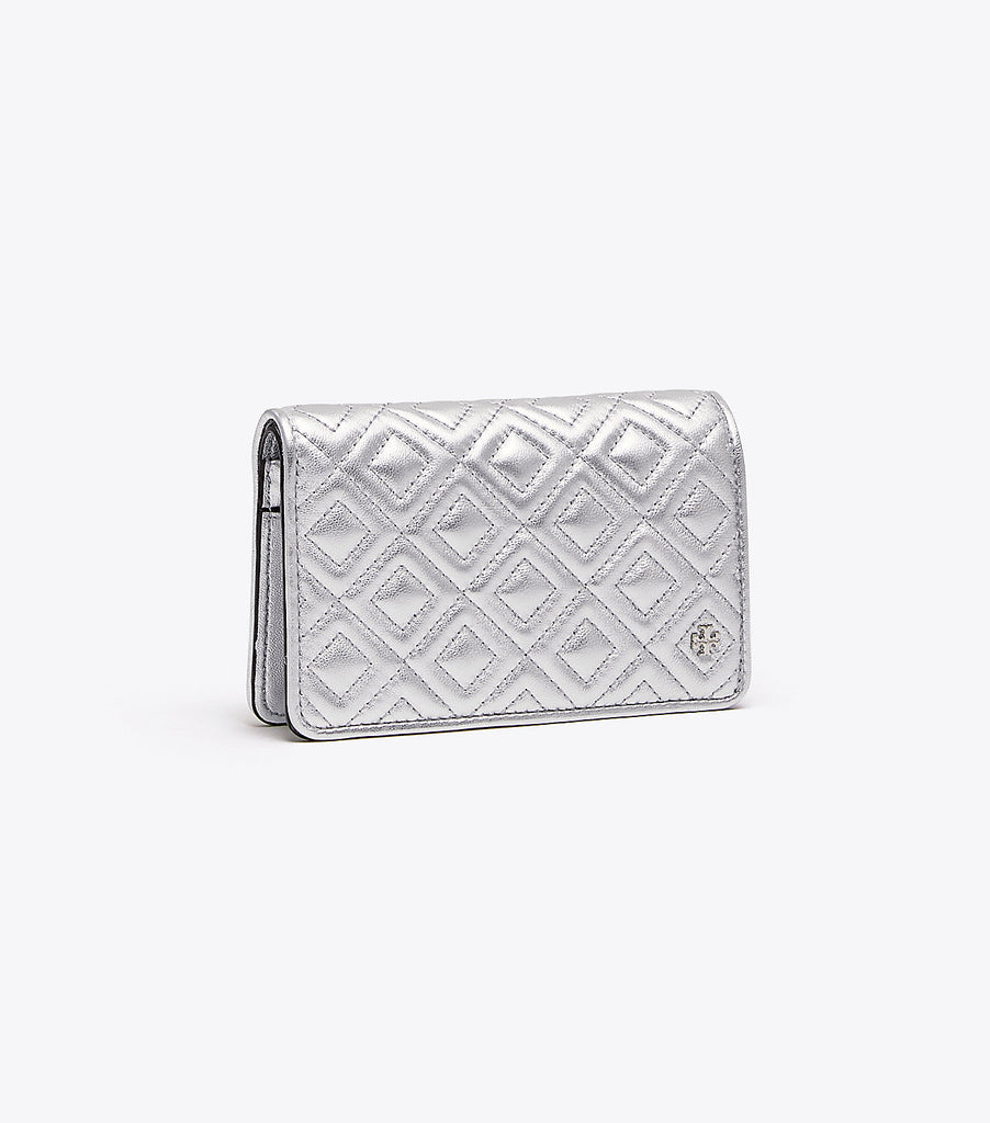 Tory Burch Fleming Metallic Slim Medium Wallet - Silver
