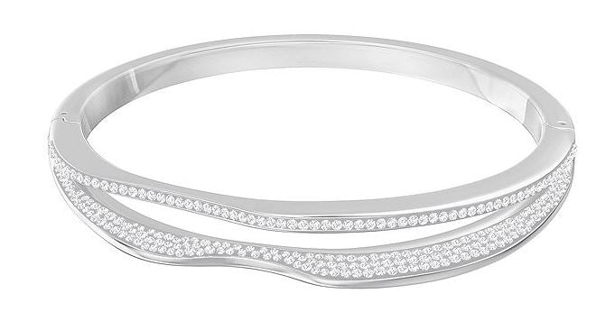 Swarovski Hilly Narrow Bangle - White - Rhodium Plating -