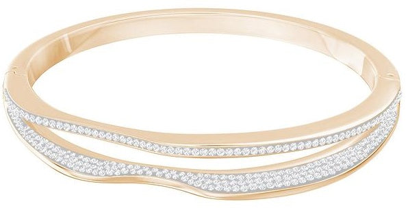 Swarovski Hilly Narrow Bangle - White - Rose Gold Plating -