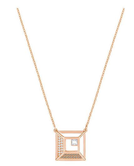 Swarovski Hillock Square Pendant - White - Rose Gold Plating -