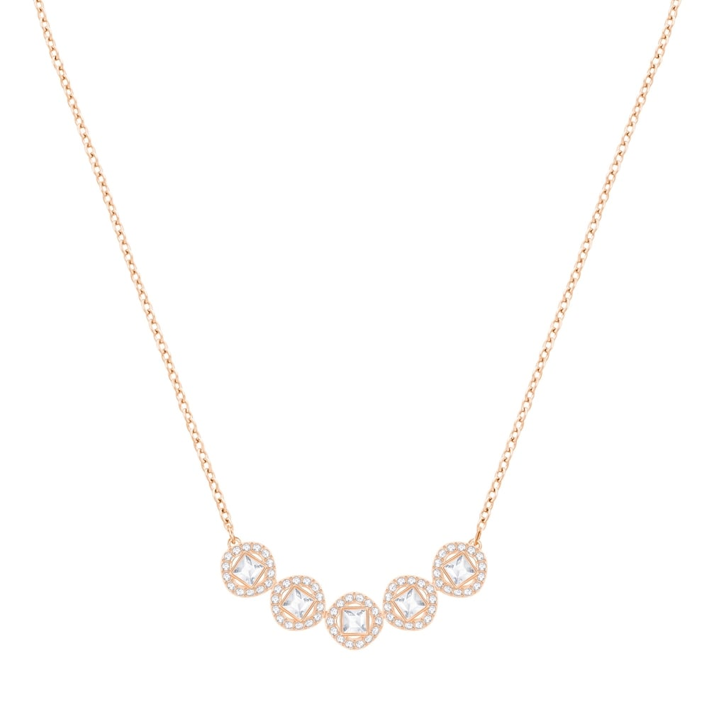 Swarovski Angelic Square Necklace - White - Rose Gold Plating -