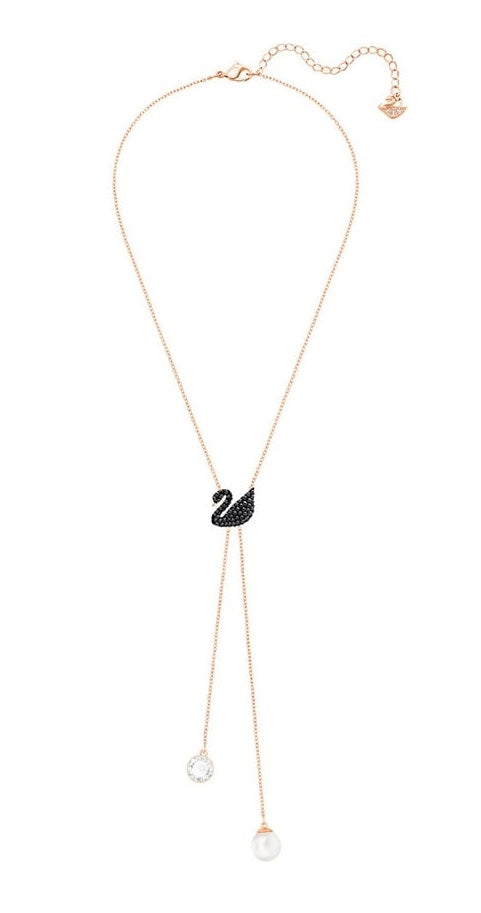 Swarovski Iconic Swan Double Y Necklace - Black - Rose Gold Plating -