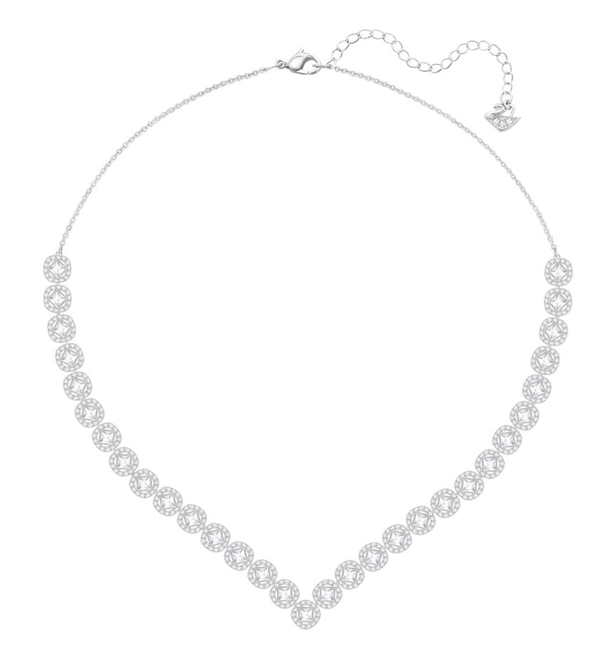 Swarovski Angelic Square Necklace - Large - White - Rhodium Plating -