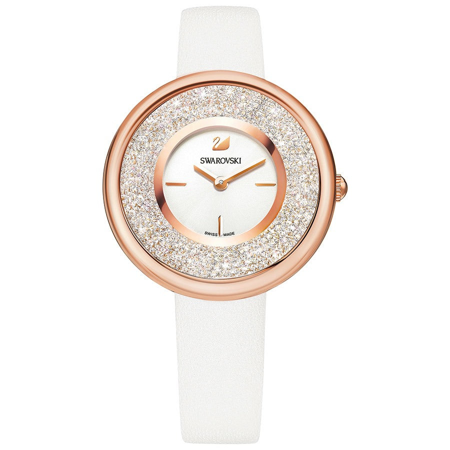 Swarovski Crystalline Pure Watch - Leather Strap - White - Rose Gold Tone -