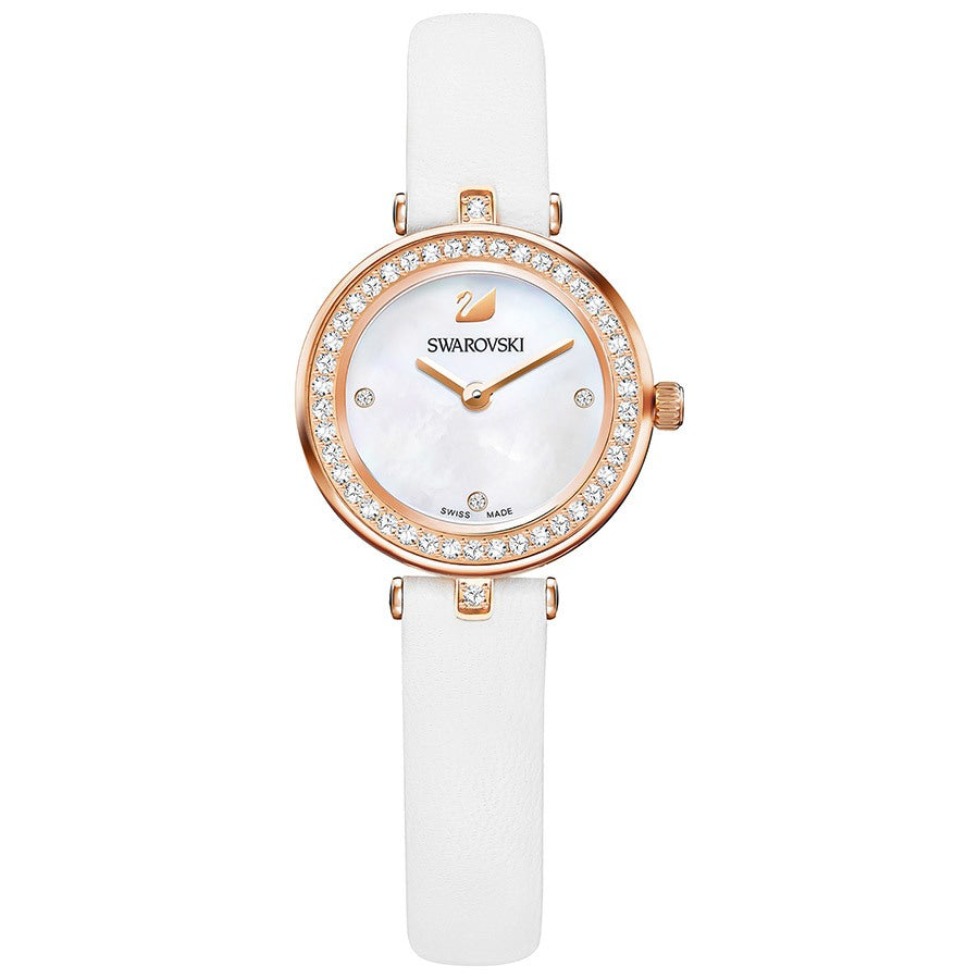 Swarovski Aila Dressy Mini White Rose Gold-Tone Leather Ladies Watch