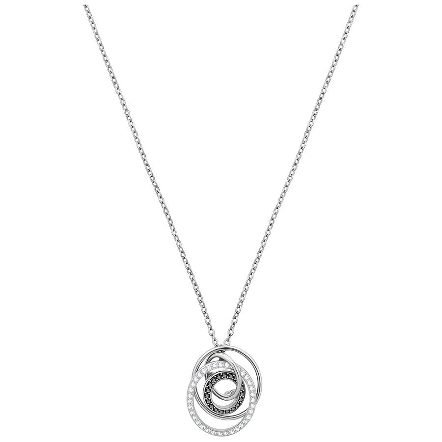 Swarovski Greeting Ring Pendant - Black - Rhodium Plating -