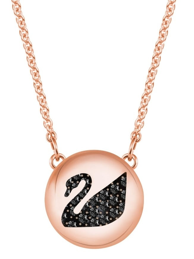 Swarovski Hall Swan Pendant - Gray - Rose gold plating -