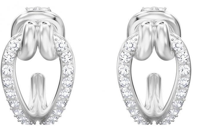Swarovski Lifelong Hoop Pierced Earrings - Small - White - Rhodium Plating -