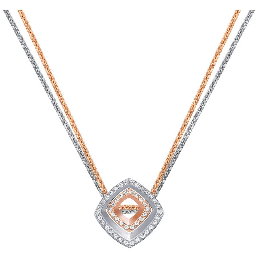 Swarovski Lovesome Square Pendant - White - Mixed Plating -