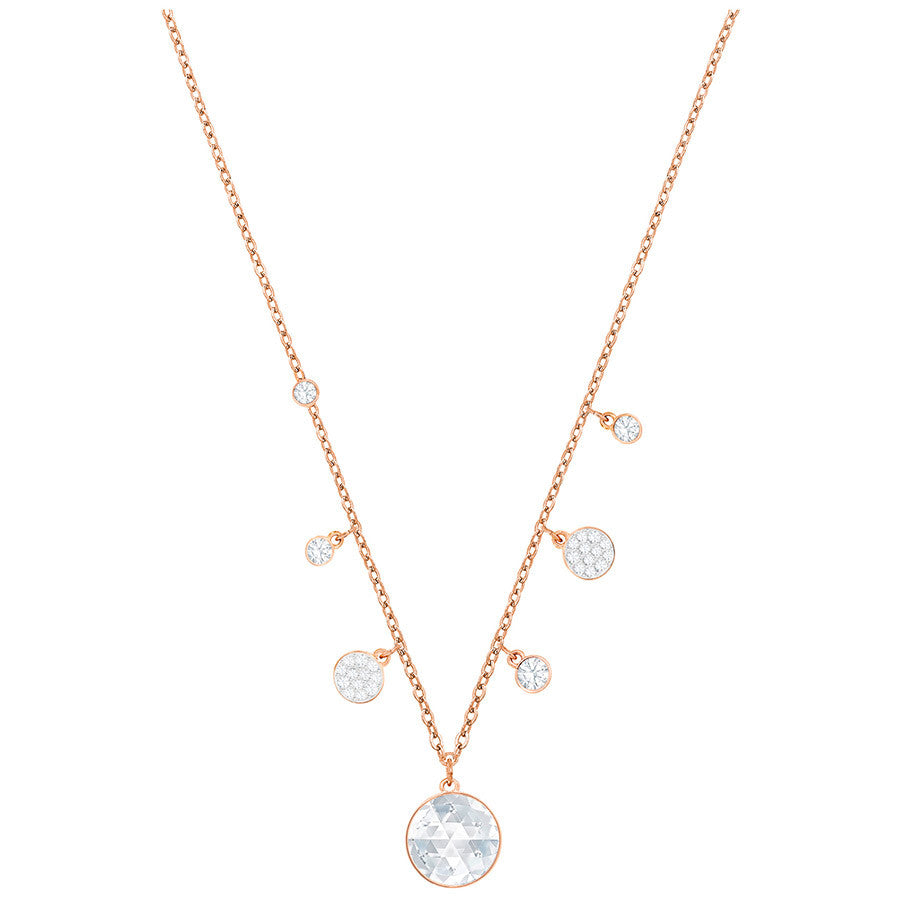 Swarovski Lucy Round Necklace - White - Rose Gold Plating -