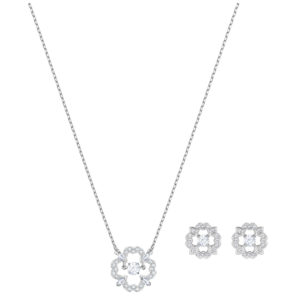 Swarovski Sparkling Dance Flower Set - White - Rhodium Plating