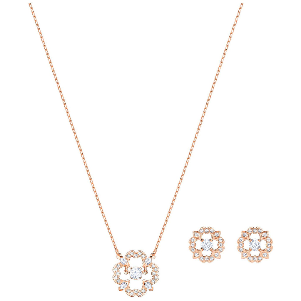 Swarovski Sparkling Dance Flower Set - White - Rose Gold Plating