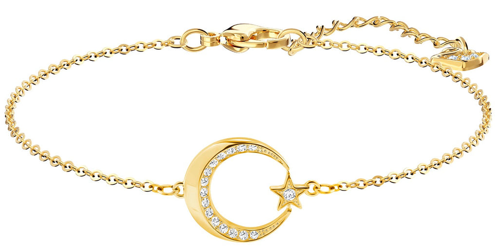 Swarovski Crystal Crescent and Star Gold-Plated Bracelet -