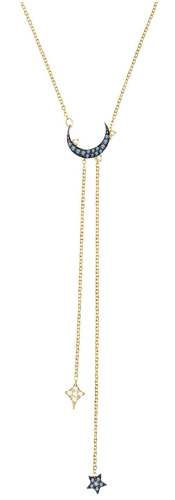 Swarovski Duo Moon Y Necklace -