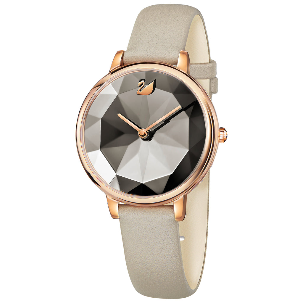 Swarovski Crystal Lake Rose Gold Tone Leather Watch -