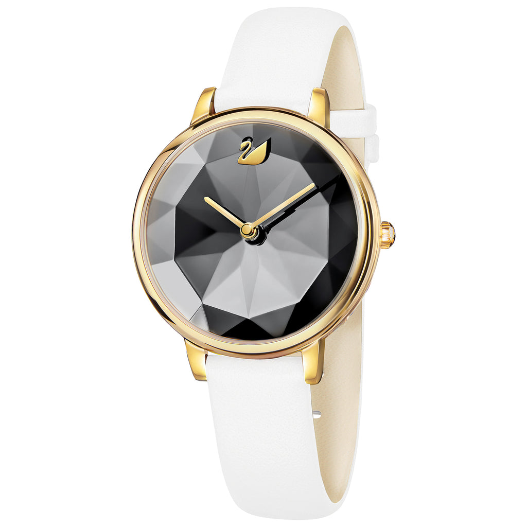 Swarovski Crystal Lake Gold Tone Leather Watch  -