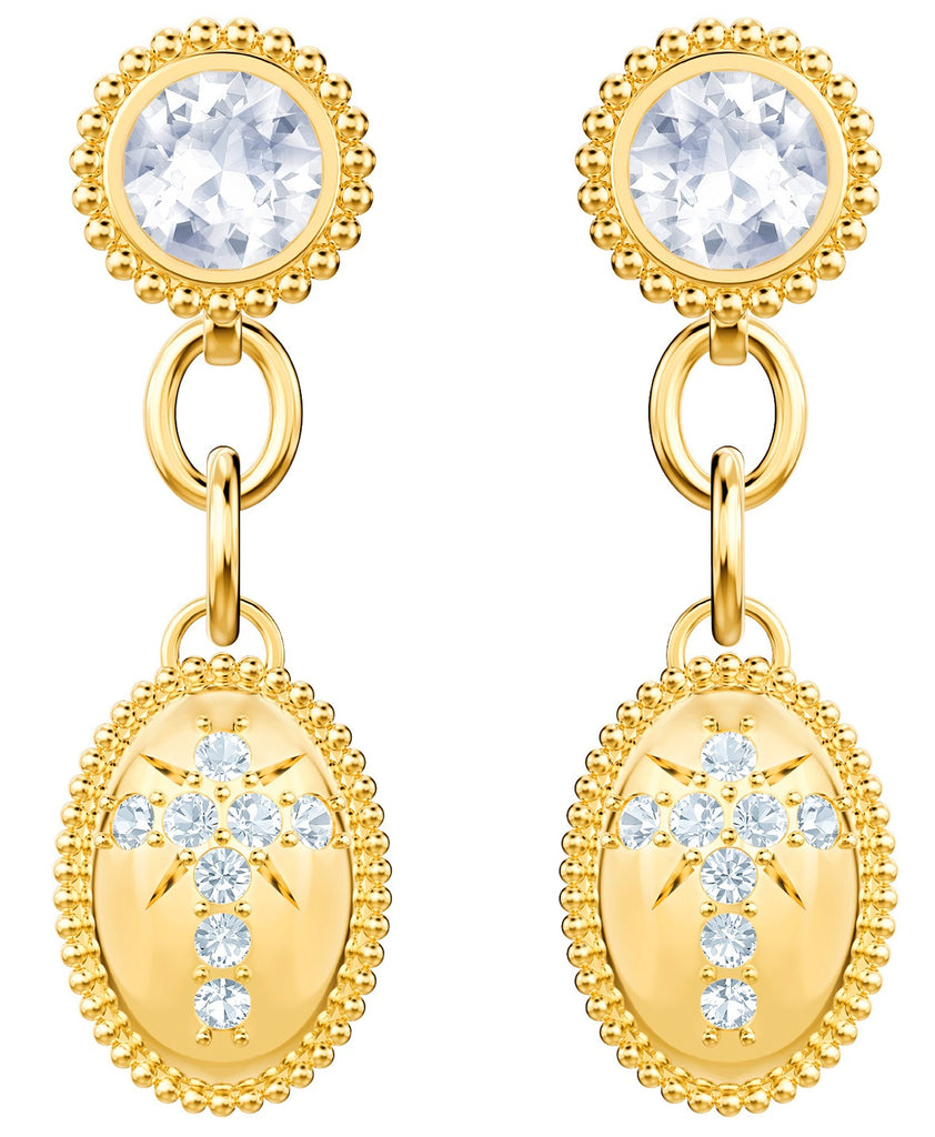 Swarovski Magnetic Gold Plated Oval Dropper Earrings -