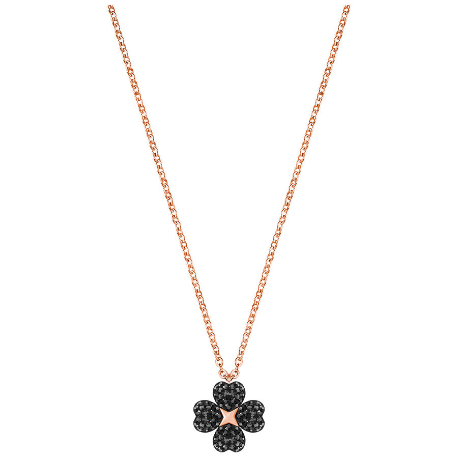 Swarovski Latisha Flower Pendant - Black - Rose Gold Plating -