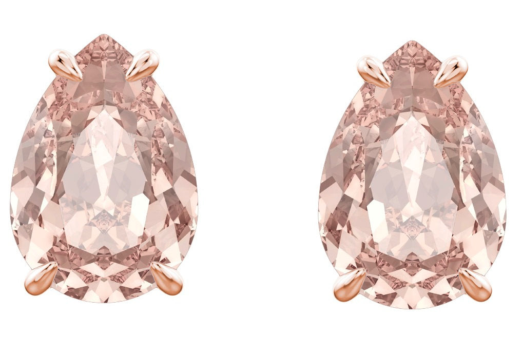Swarovski Mix Rose Gold Plated Pink Pear Stud Earrings -