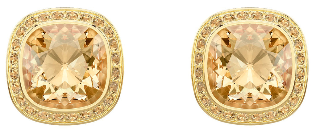 Swarovski Lattitude Stud Pierced Earrings - Golden - Gold Plating -