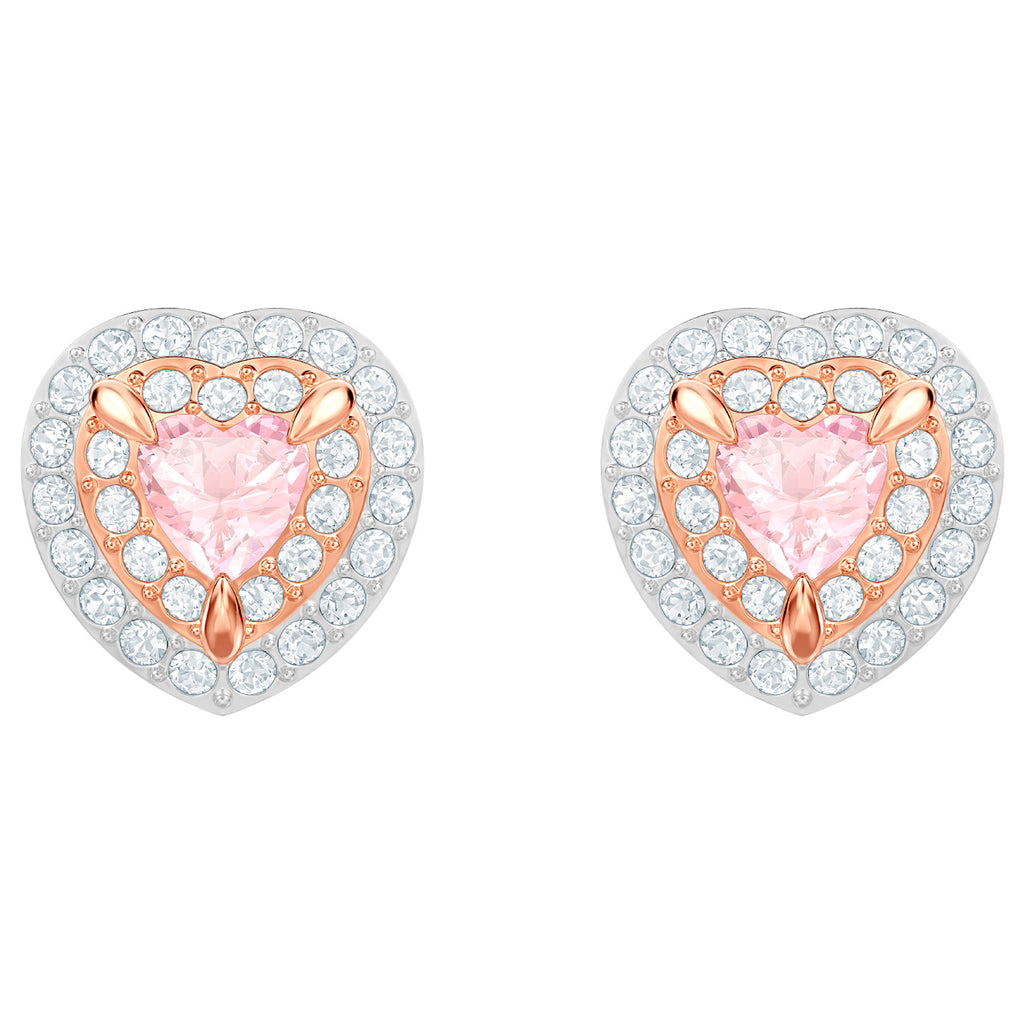 Swarovski One Stud Pierced Earrings - Multi-coloured - Rose Gold Plating