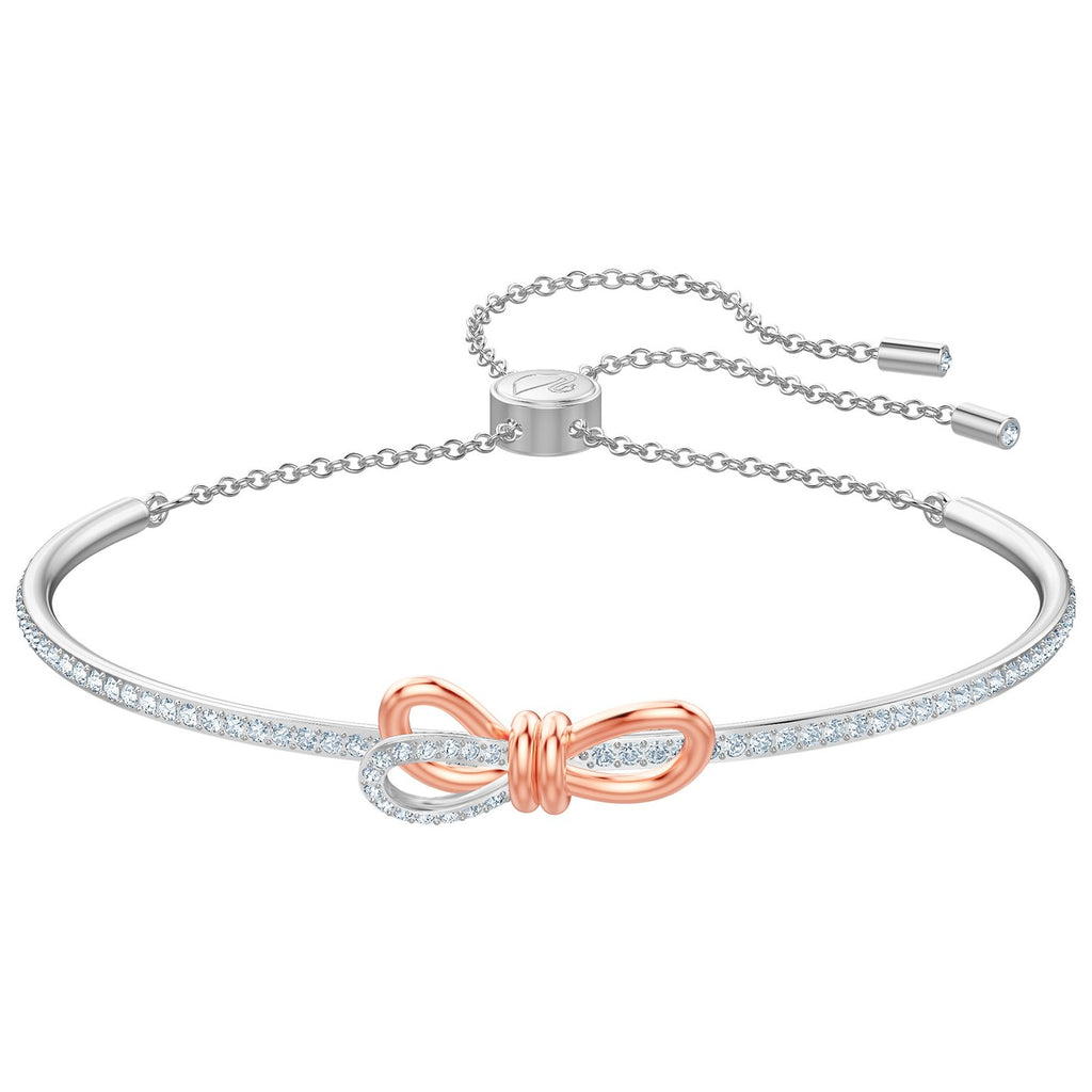 Swarovski Lifelong Bow Bangle - White - Mixed Plating