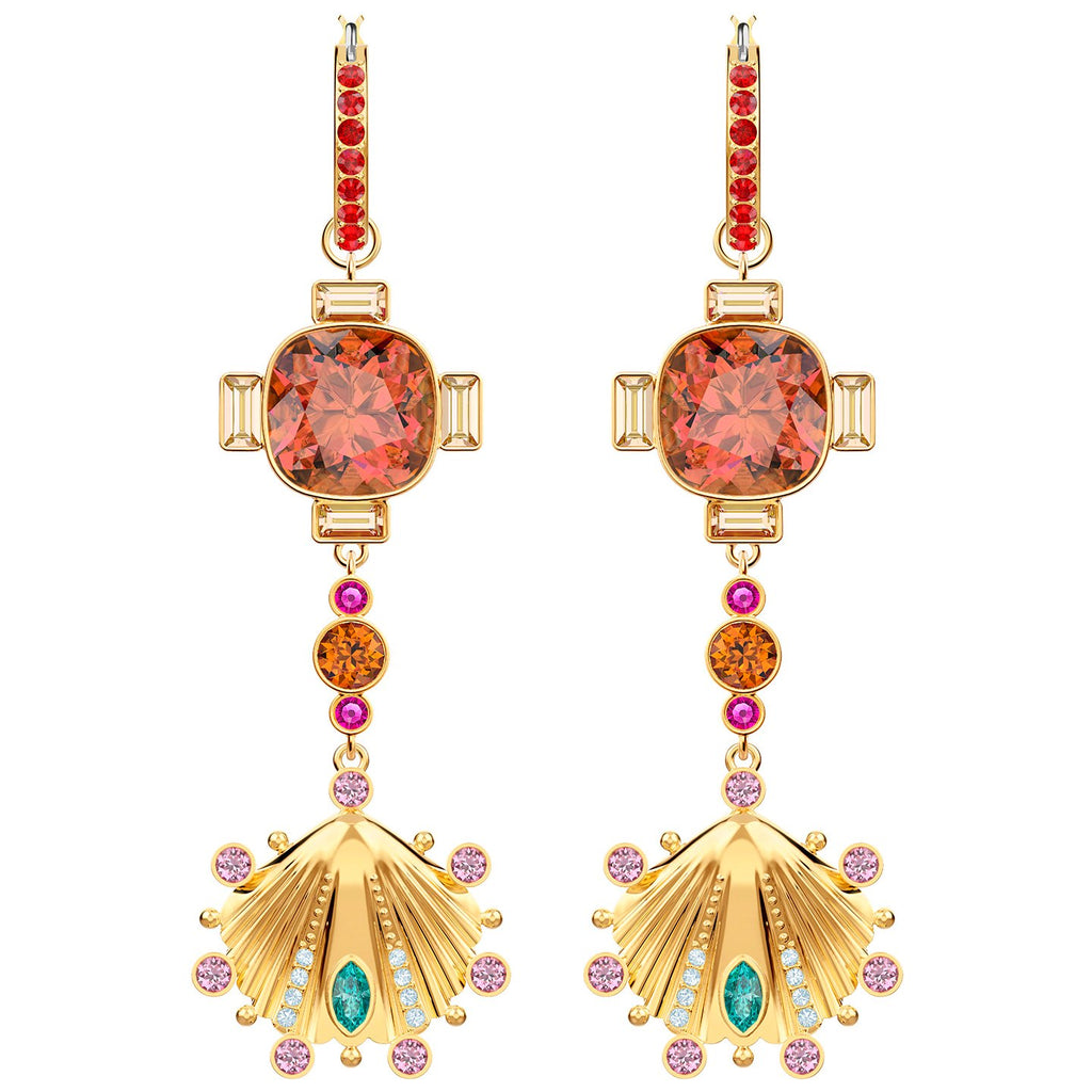Swarovski Lucky Goddess Shell Pierced Earrings - Multi-coloured - Gold Plating