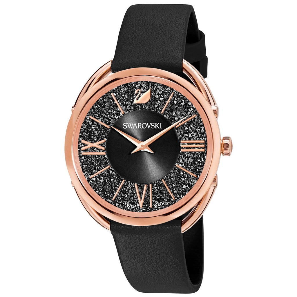 Swarovski Crystalline Glam Watch - Leather strap - Black - Rose Gold tone