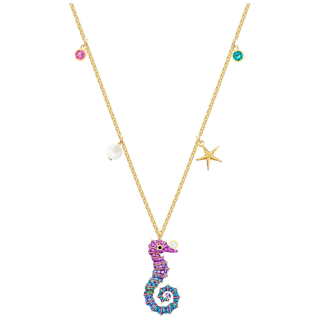 Swarovski Ocean Seahorse Pendant - Multi-coloured - Gold Plating