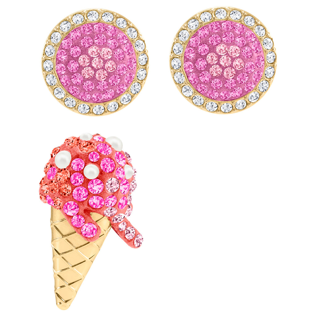 Swarovski No Regrets Ice Cream Pierced Earrings - Multi-coloured - Gold Plating
