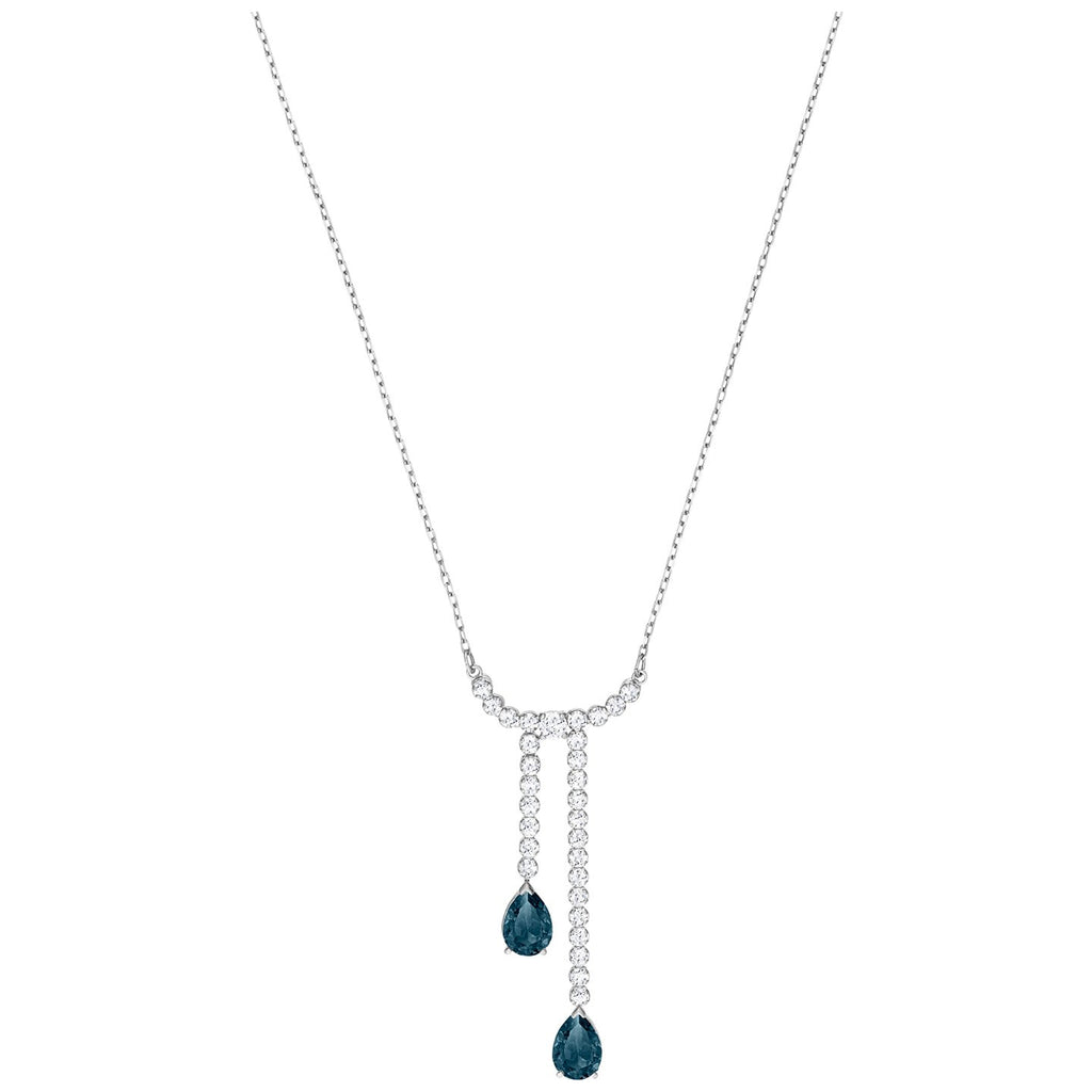 Swarovski Vintage Y Necklace - White - Rhodium Plating