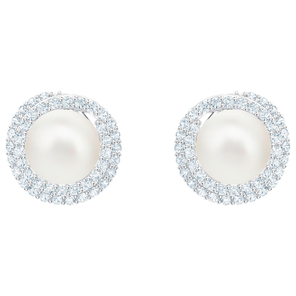 Swarovski Originally Pierced Earrings - White - Rhodium Plating