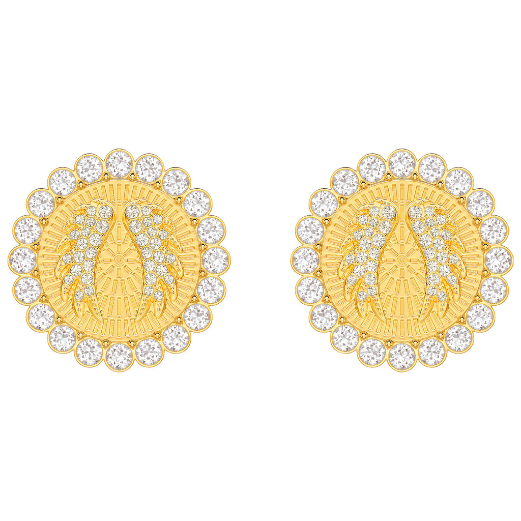 Swarovski Lucky Goddess Clip Earrings - White - Gold Plating