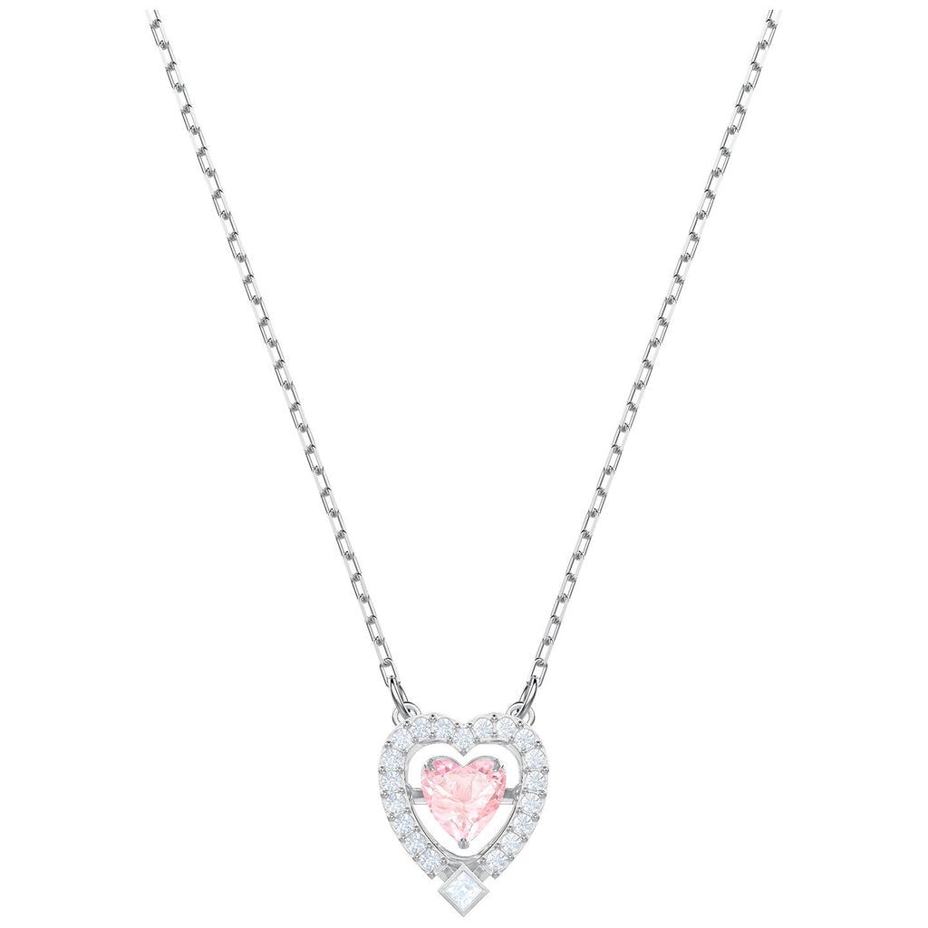 Swarovski Sparkling Dance Heart Necklace - Pink - Rhodium Plating