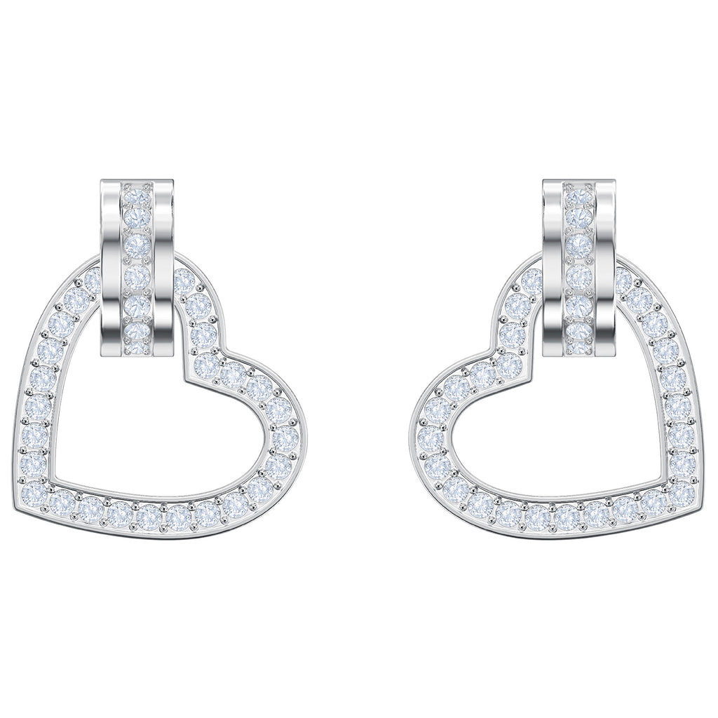 Swarovski Lovely Pierced Earrings - White - Rhodium Plating