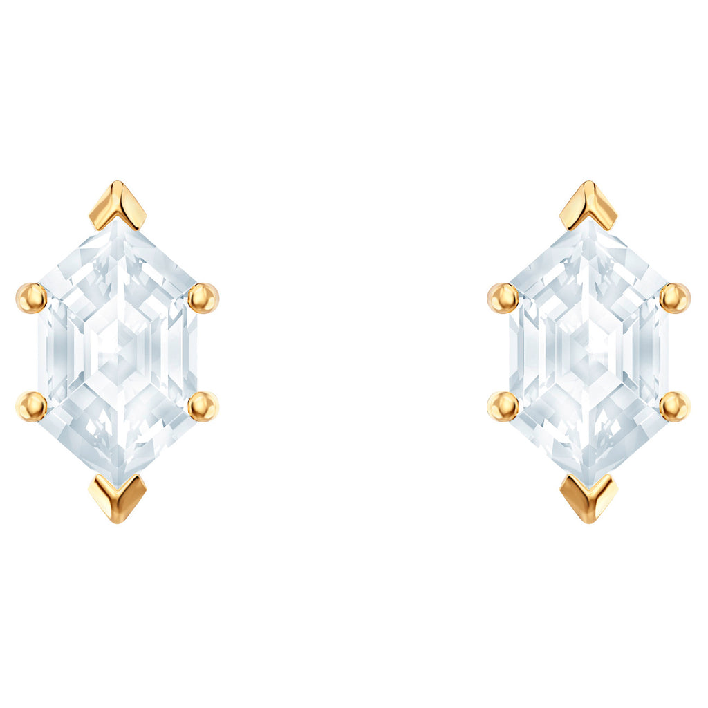 Swarovski Oz Pierced Earrings - White - Gold Plating