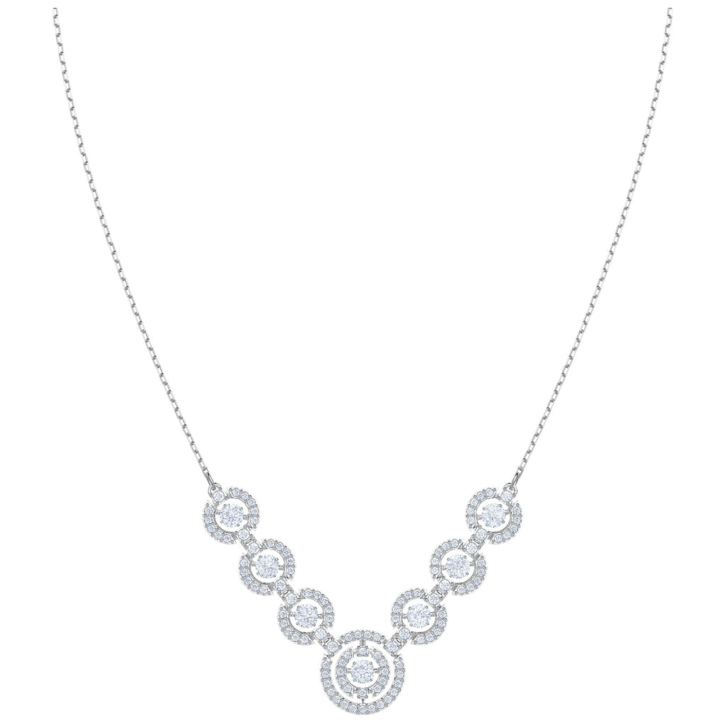 Swarovski Sparkling Dance Necklace - White - Rhodium Plating